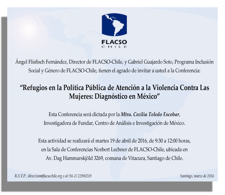 Invitación Conferencia 19 abril 2016 FLACSO Chile