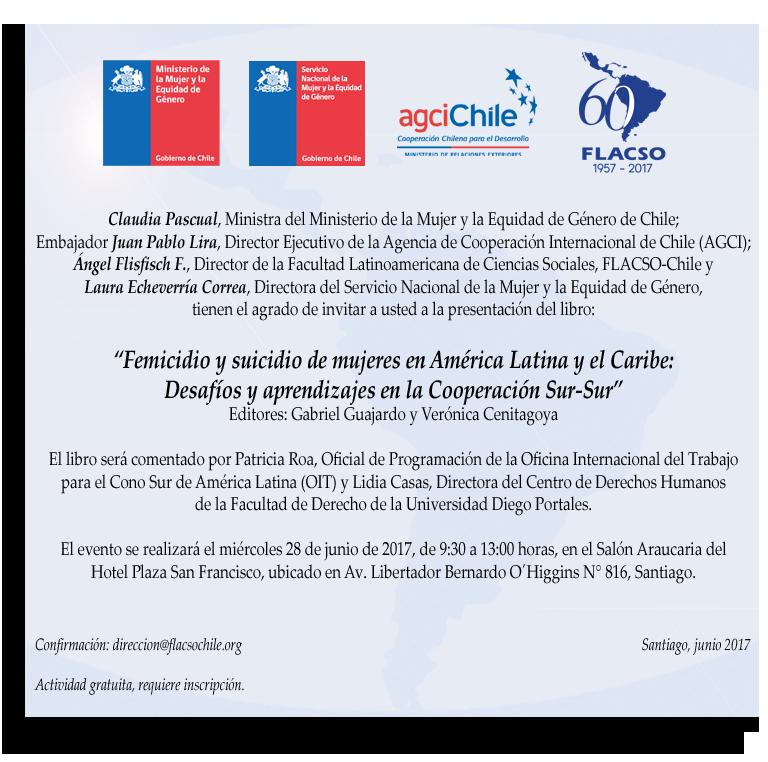 Invitación presentación pública Libro Femicidio y Suicidio de Mujeres 28 junio 2017