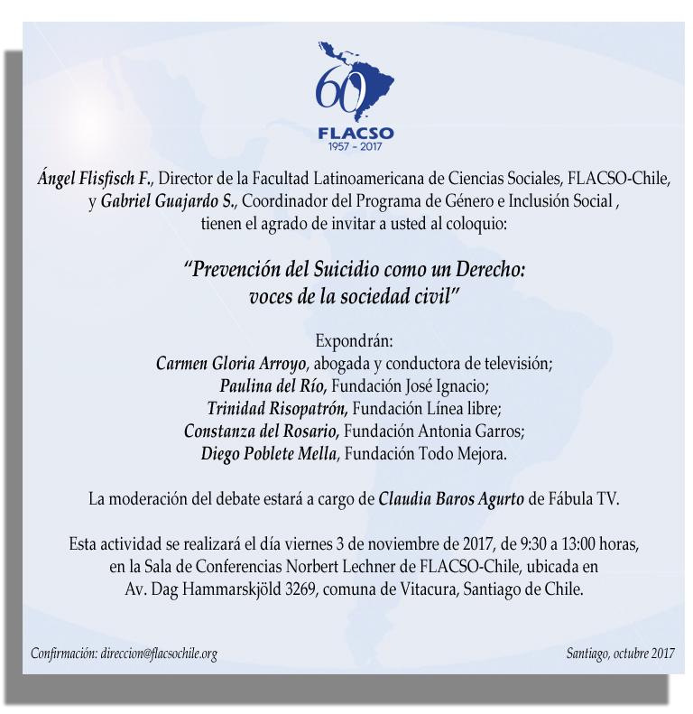 Invitación Coloquio Prevención del Suicidio 3 noviembre 2017 FLACSO