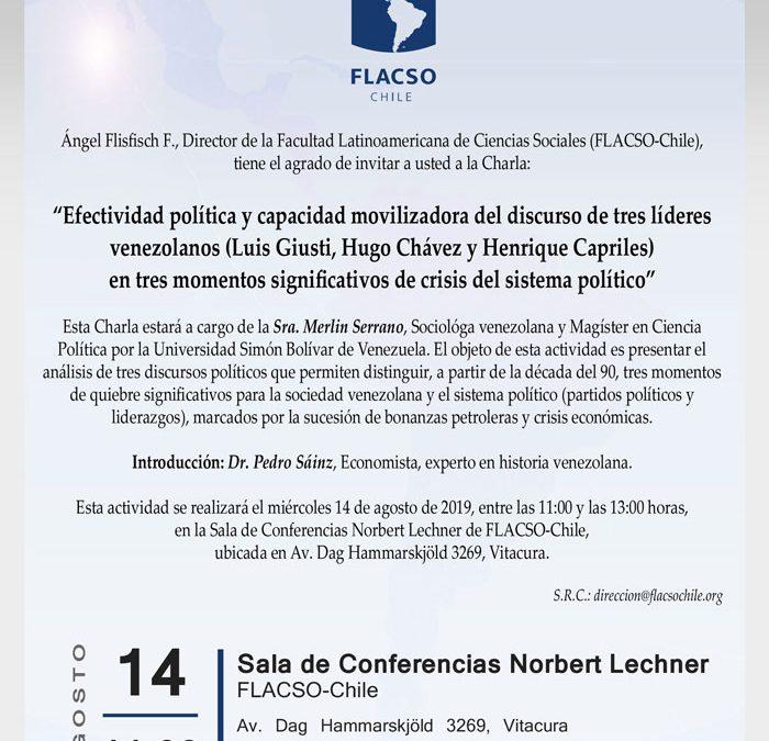 """Conferencia """"Efectividad política y capacidad movilizadora del discurso de tres líderes venezolanos…"""""""