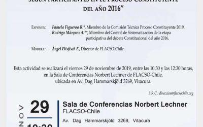 """Panel """"Prioridades de materias para una Nueva Constitución según participantes en el Proceso Constituyente del año 2016"""""""