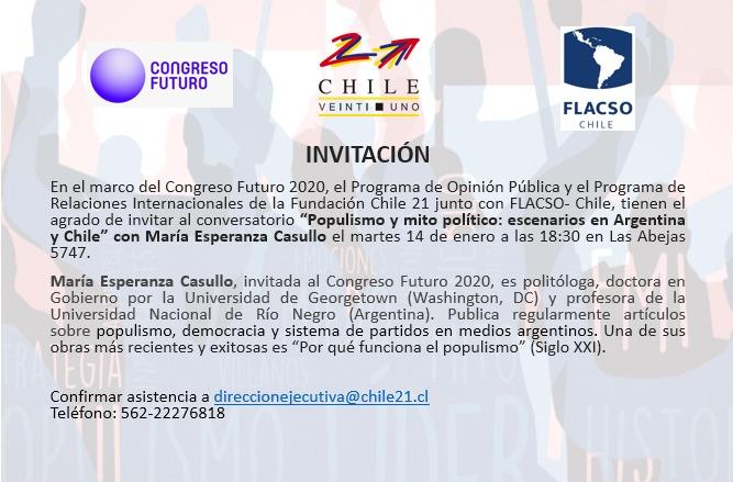 """Conversatorio """"Populismo y mito político: escenarios en Argentina y Chile"""" (en Chile 21)"""